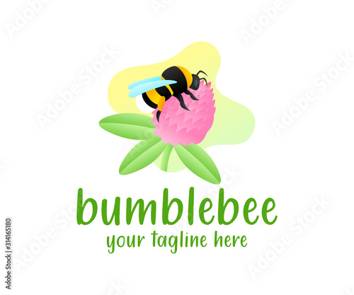 Valokuva Bumblebee sits on a clover flower, illustration and logo design