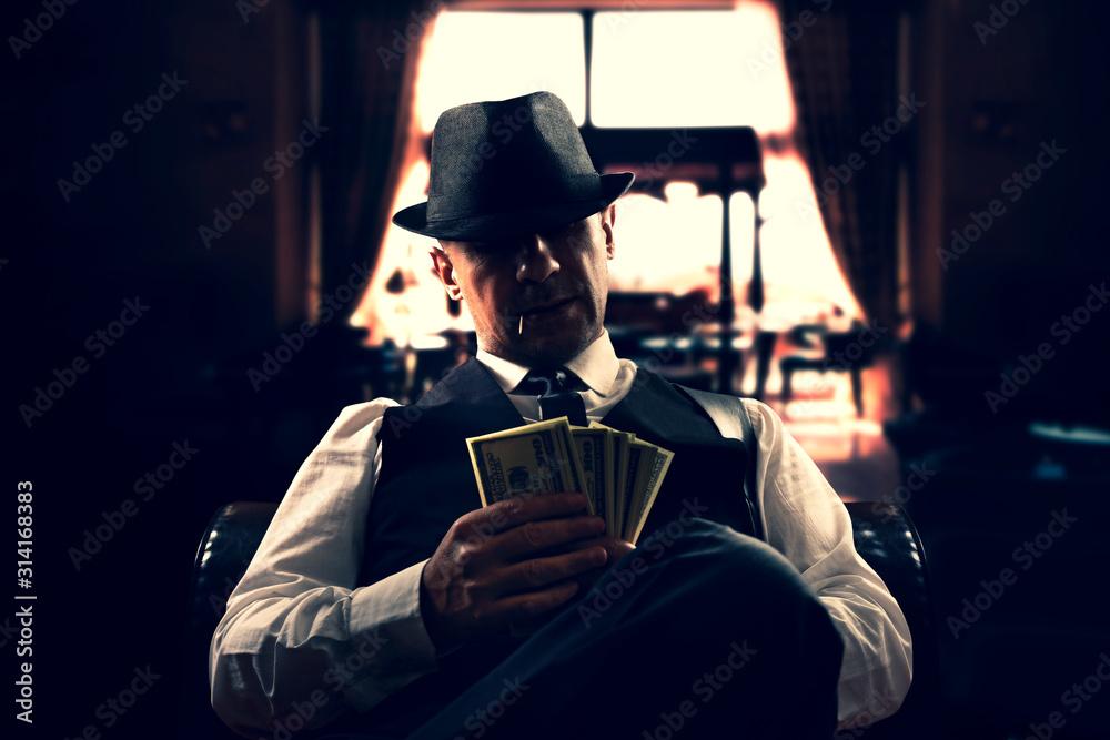Fototapeta vintage Italian mafia gangster in 1930's in New York