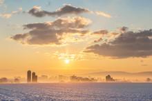 Winter Sunrise Over A Pennslvania Farm