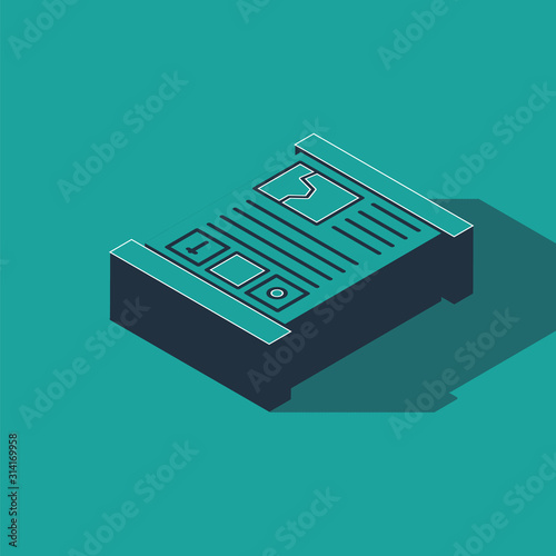 Photo Isometric Game guide icon isolated on green background