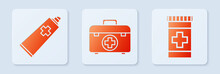 Set First Aid Kit, Ointment Cream Tube Medicine And Medicine Bottle. White Square Button. Vector