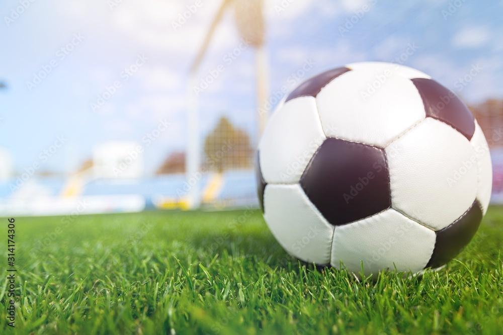Fototapeta Classic soccer ball player on the stadium grass