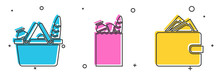 Set Shopping Basket And Food, Paper Shopping Bag And Food And Wallet With Stacks Paper Money Cash Icon. Vector