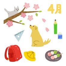 4月素材 犬と猫