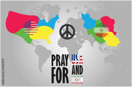 Pray for USA vs Iran, Flags in colorful national map on World map, Vector illust Wallpaper Mural