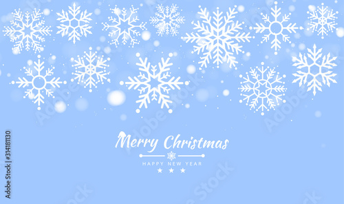 Obraz Merry Christmas and Happy New Year background with Christmas tree made of snowflakes. Vector illustration - fototapety do salonu