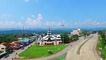 Aerial Of Cultural Historic Landmark Architecture At Mae Sariang, Northern Thailand A