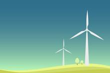 Wind Turbine Landscape Minimal Design Illustration.