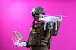 canvas print picture - soldier drone pilot technician
