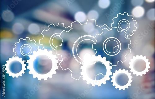 Cuadros en Lienzo  Heap of digital gears on background