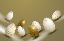 Easter Composition In A Beige Hue With A Silhouette Of Eggs With A Different Pattern, Design Element