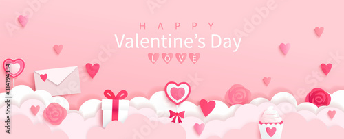 Fototapeta Valentines day banner with symbols of holiday-gifts,hearts,letters,flowers on pink background with wishing happy holiday, origami style.Template for flyer, invitation and greeting card for holiday. obraz