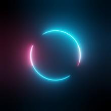 Neon Light Circle Frame On Dar...