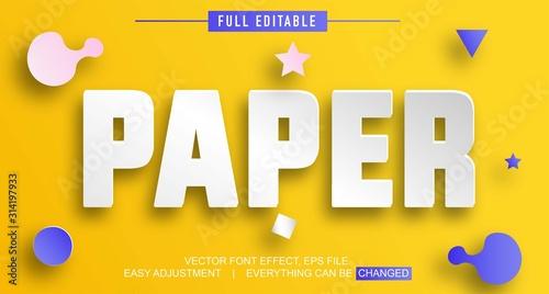 Fototapeta paper style shadow text effect design editable vector obraz