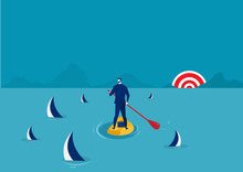 Businessman Paddle Boarding In...