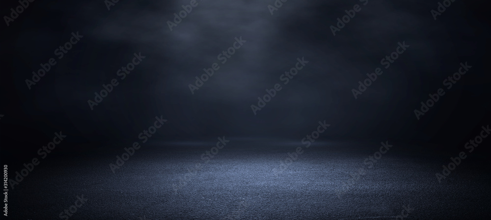 Fototapeta Dark room with light and smoke background.