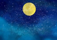 満月:スーパームーン 満月 名月 夜空 星空 星 水彩 手描き 天体 天体観測
