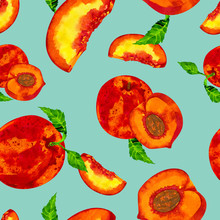 Fruit Print With Peaches, Seamless Pattern With Juicy Nectarines On A Light Green Background.