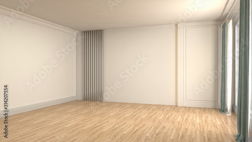 Fototapeta Empty interior with window. 3d illustration obraz