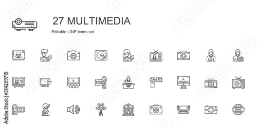 multimedia icons set Canvas Print