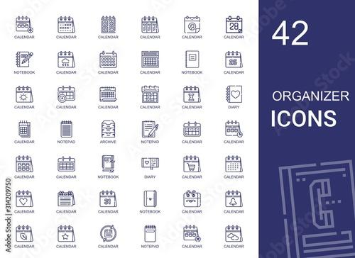 Fotografía organizer icons set