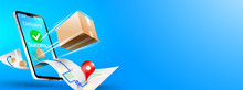 Online Delivery Phone Concept. Fast Respond Delivery Package Shipping On Mobile. Online Order Tracking With Map. Vector Illustration