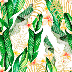 Fototapeta Liście Beautiful watercolor seamless pattern with gold and green tropical leaves and plumeria flowers.