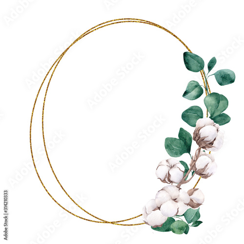 Fototapety, obrazy: Frame with watercolor hand draw branches of cotton end eucalyptus, isolated on white background