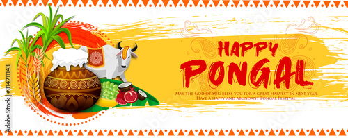 Cuadros en Lienzo  Illustration of Happy Pongal Holiday greeting Harvest Festival of South India wi