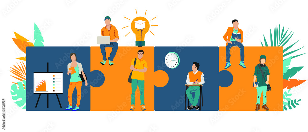 Fototapeta Business concept. Team metaphor. people connecting puzzle elements. Vector illustration flat design style. Symbol of teamwork, cooperation, partnership.