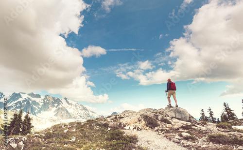 fototapeta na szkło Hike in mountains