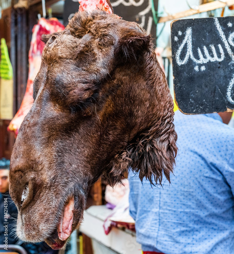 Fotomural Camel meat in the local market, Fez, Morocco