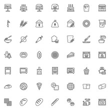 Bakery Shop Line Icons Set. Linear Style Symbols Collection, Outline Signs Pack. Vector Graphics. Set Includes Icons As Birthday Cake, Cupcake, Muffin, Bread Loaf, Dough Rolling Pin, Flour Sack, Wheat