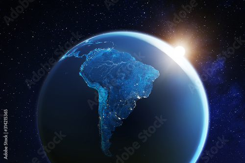 Fotografía South America viewed from space with sunrise on planet Earth and stars, overview