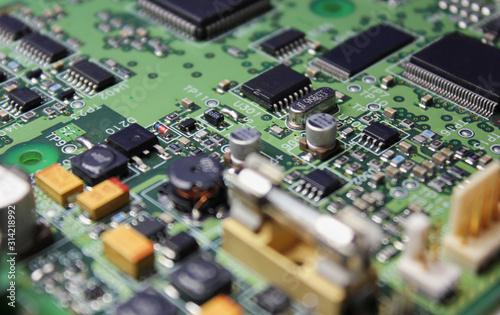 Fotomural Closeup of electronic circuit board or PCB printed circuit board