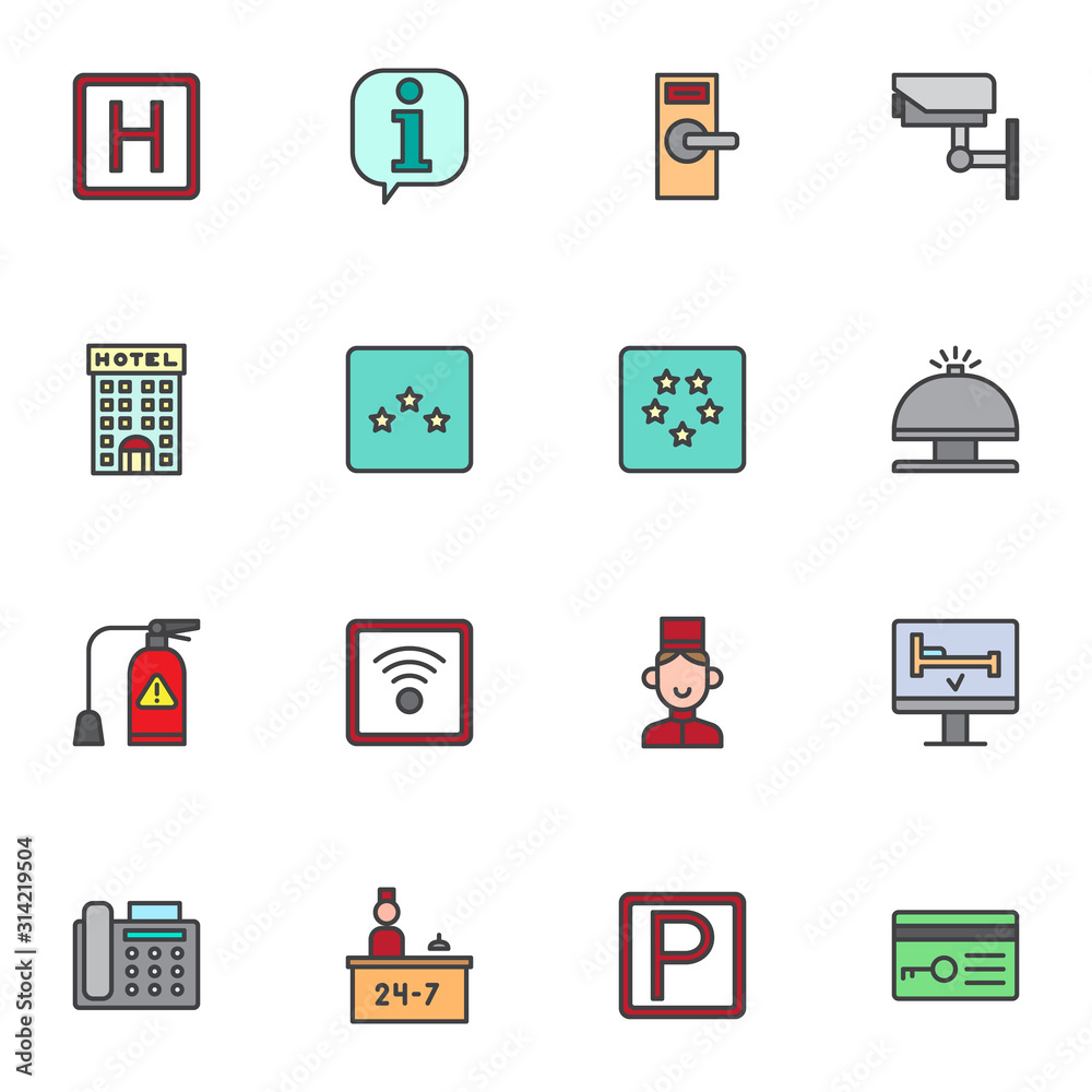 Fototapeta Hotel service filled outline icons set, line vector symbol collection, linear colorful pictogram pack. Signs, logo illustration, Set includes icons as parking, lock, cctv, reception bell, receptionist