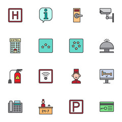 Hotel service filled outline icons set, line vector symbol collection, linear colorful pictogram pack. Signs, logo illustration, Set includes icons as parking, lock, cctv, reception bell, receptionist