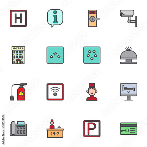 Fototapeta Hotel service filled outline icons set, line vector symbol collection, linear colorful pictogram pack. Signs, logo illustration, Set includes icons as parking, lock, cctv, reception bell, receptionist obraz
