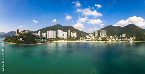 Aerial panorama of the Repusle bay beach in Hong Kong island on a sunny day Fototapeta