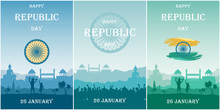 Set Cards For Republic Day Of India. Silhouette Of People Outdoors And Red Fort On Background Of Mountains Landscape. Vector Illustration For Invitation Cards For The Independence Celebration.