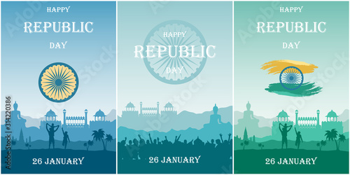 Valokuvatapetti Set cards for Republic Day of India