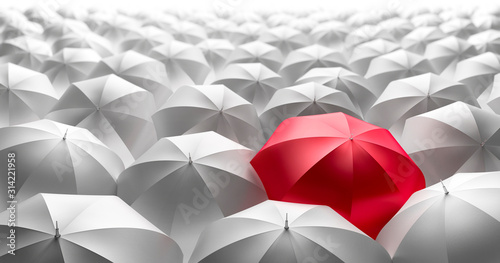 Obraz Red Umbrella Standing out of the crowd of white Umbrellas - fototapety do salonu