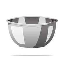 Stainless Steel Mixing Bowl Vector Isolated Illustration