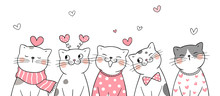 Draw Cat With Little Hearts For Valentine.