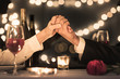 canvas print picture - Couple enjoying a romantic candle light dinner date.