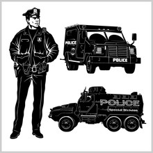 Special Police Cars And Police Man - Pickup Truck And Armored Car - Vector Set Isolated On White