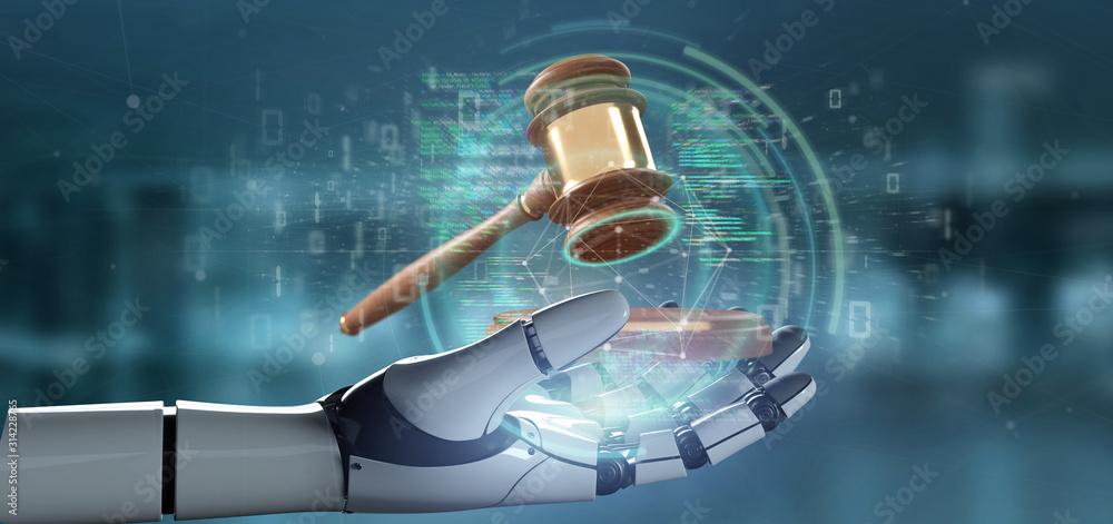 Fototapeta Cyborg hand holding Justice hammer and data - 3d rendering