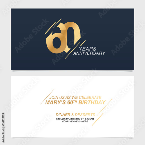 Photographie 60 years anniversary invitation card vector illustration