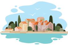 Landscape Of A Coastal Town Wi...