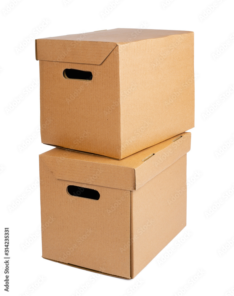 Obraz Cardboard brown box isolated on white background fototapeta, plakat